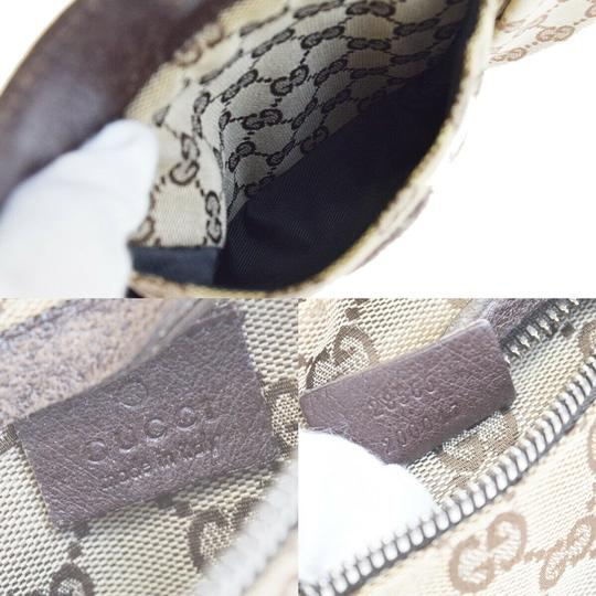 Gucci Authentic GUCCI GG Logo Pattern Bum Bag Belt Canvas Leather Brown Ital Image 11