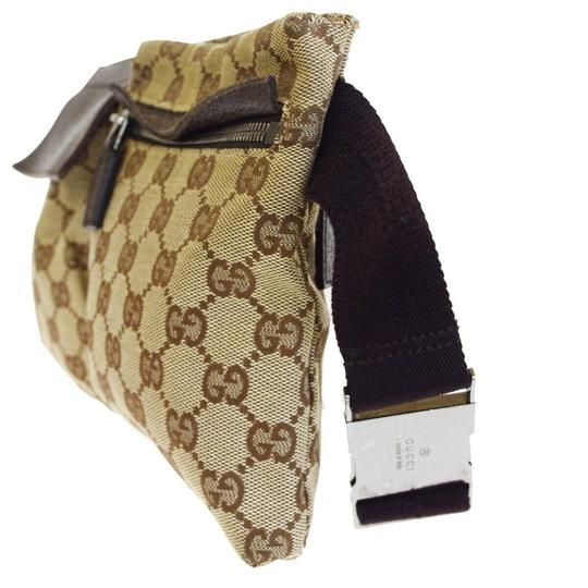 Gucci Authentic GUCCI GG Logo Pattern Bum Bag Belt Canvas Leather Brown Ital Image 2