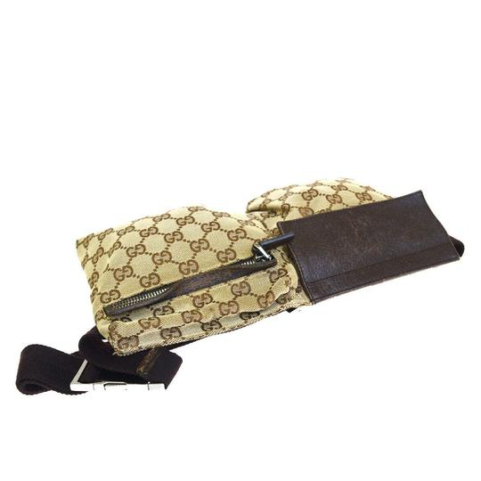 Gucci Authentic GUCCI GG Logo Pattern Bum Bag Belt Canvas Leather Brown Ital Image 3