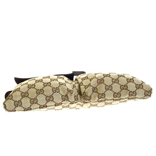 Gucci Authentic GUCCI GG Logo Pattern Bum Bag Belt Canvas Leather Brown Ital Image 4