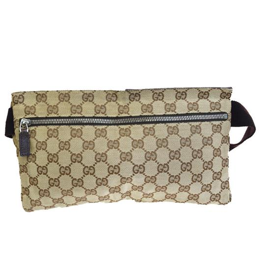 Gucci Authentic GUCCI GG Logo Pattern Bum Bag Belt Canvas Leather Brown Ital Image 5