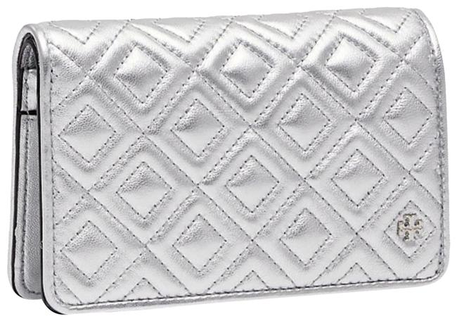 Item - Silver Fleming New Quilted Metallic Leather Slim Medium Wallet