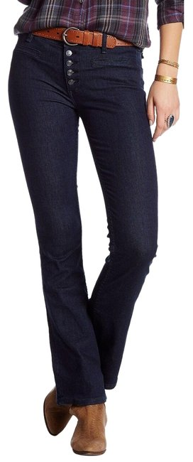 Item - Blue Dark Rinse New Wash Button Fly Slim Flare Leg Jeans Size 27 (4, S)