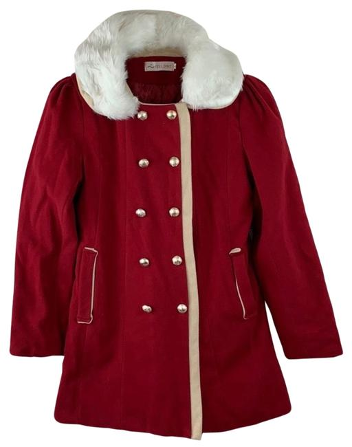Item - Red Beige White Gold Buttons Collared Jacket Coat Size 12 (L)