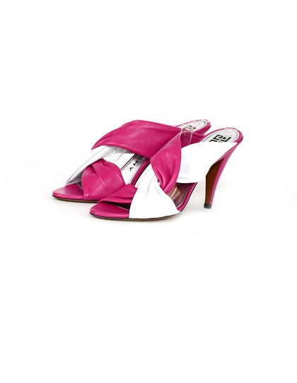 Givenchy Tie Heeled Leather Pink, white Mules Image 1