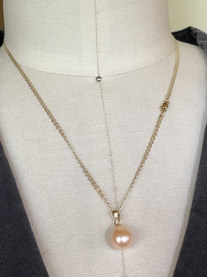14k Gold Soft Pink Akoya Pearl 18 Inch Mariner Chain New Necklace Image 2