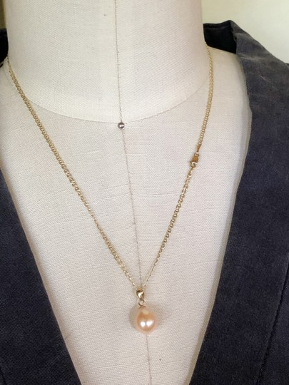 14k Gold Soft Pink Akoya Pearl 18 Inch Mariner Chain New Necklace Image 4