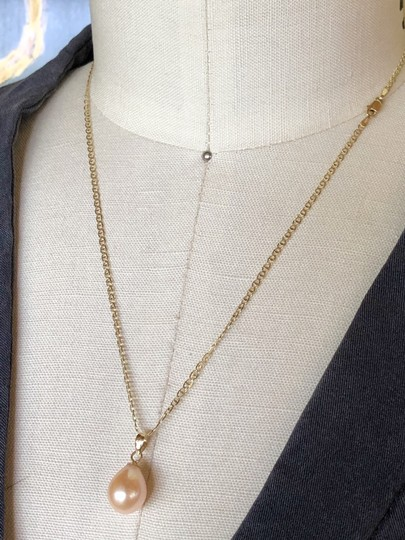 14k Gold Soft Pink Akoya Pearl 18 Inch Mariner Chain New Necklace Image 5