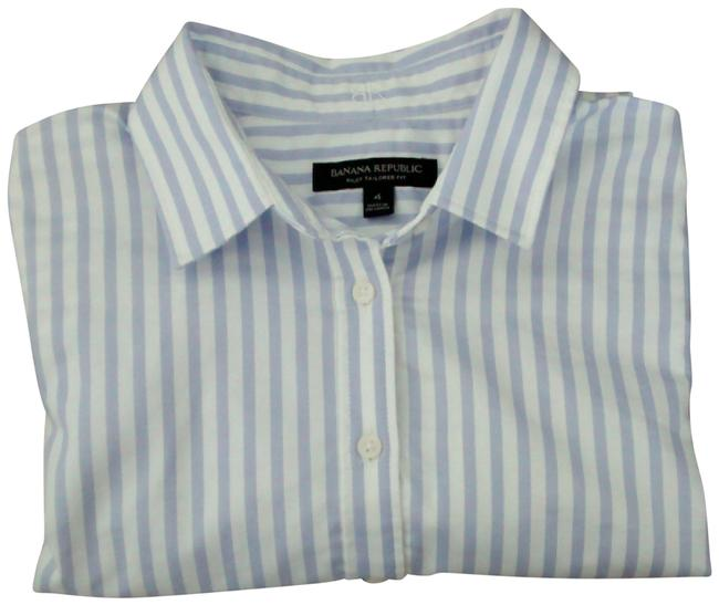 Item - White and Lavender Riley Tailored-fit Super-stretch Shirt Button-down Top Size 4 (S)