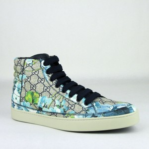 Gucci Blue Men's Bloom Print Fabric Hi Top Sneaker 9g/10 407342 8470 Shoes
