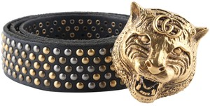 Gucci Gucci Feline Head Studded Leather Belt