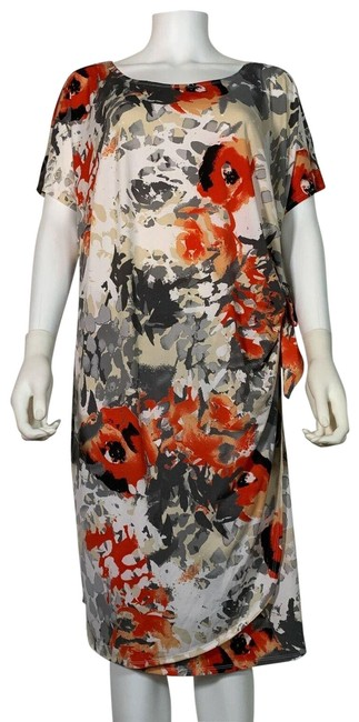 Item - Multinacional Signature By Floral Sheath Tie Front New Mid-length Work/Office Dress Size 22 (Plus 2x)