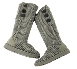 UGG Australia Classic Cardy Sweater Knit 3 Button Tall Gray Boots