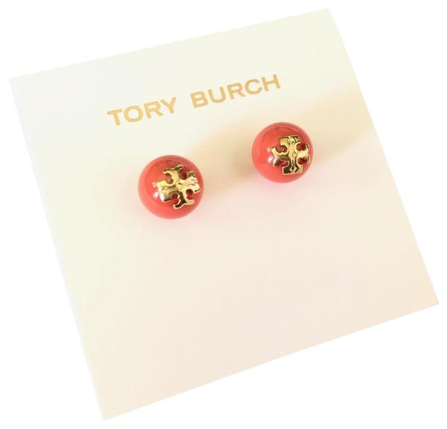 Item - Coral Evie Blue Pearl Studs 16k Gold T-logo Earrings