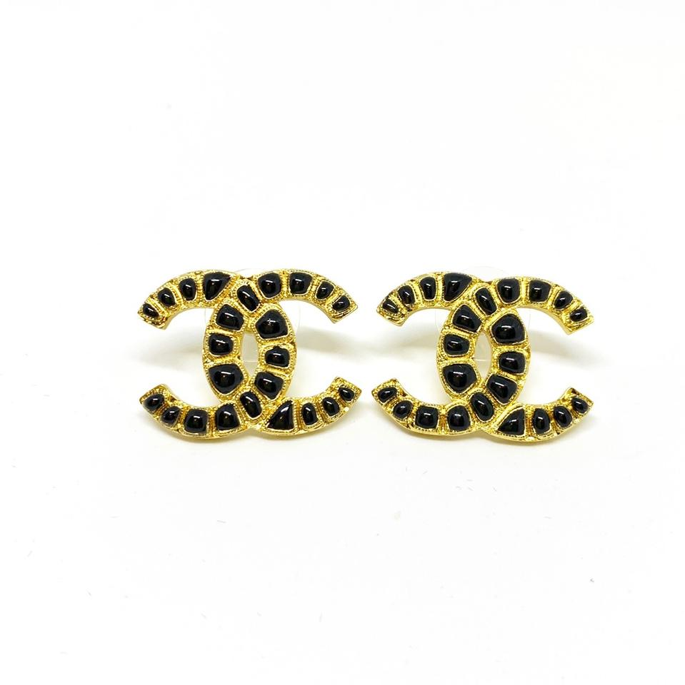 Chanel Gold Black Resin Cc Large Interlocking Coco Stud Earrings