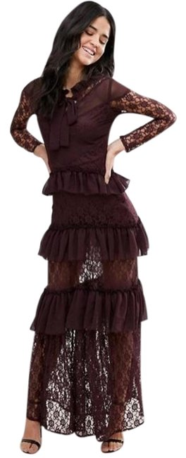 Item - Eggplant Sleeve Tiered Ruffle Lace Long Cocktail Dress Size 4 (S)