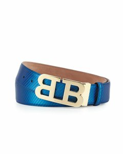 Bally Blue Mirror 40 Textured Leather Double B Gold Logo Adjustable Belt 110 44 Men's Jewelry/Accessory