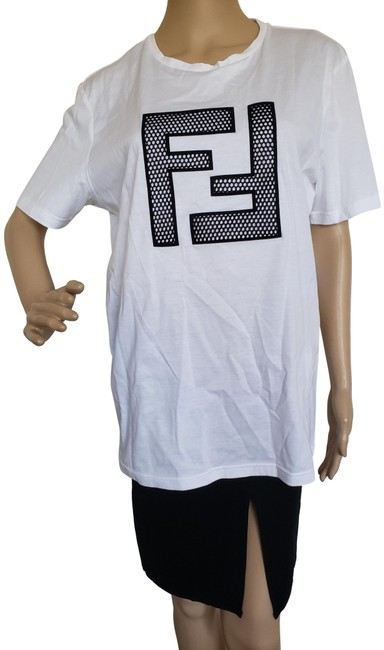 Item - White Black Zucca Ff Logo Embroidered T-shirt Tee Shirt Size 12 (L)