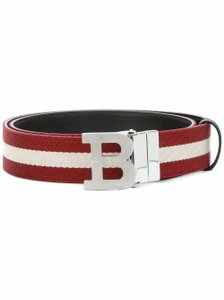 Bally Red B Buckle 35 Reversible Canvas Stripe Web Brown Leather Belt 100/40 Men's Jewelry/Accessory