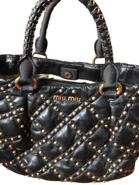 Item - Studded Hand Black Gold - Studs Leather Tote
