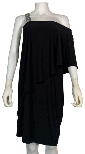 Item - Black XL One Shoulder Night Out Studed Embellished Party Short Cocktail Dress Size 16 (XL, Plus 0x)