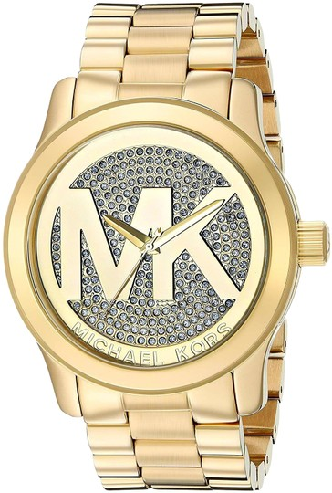 Preload https://img-static.tradesy.com/item/25906907/michael-kors-gold-runway-stainless-steel-pave-crystal-logo-mk5076-watch-0-1-540-540.jpg