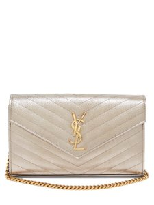 Saint Laurent Monogram Chain Chain Envelope Chain Ysl All Black Shoulder Bag