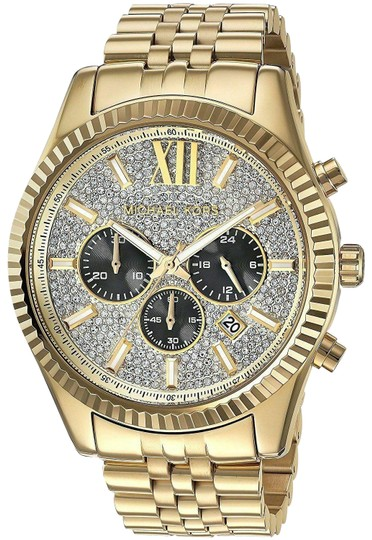 Preload https://img-static.tradesy.com/item/25907016/michael-kors-gold-lexington-stainless-steel-pave-crystal-chronogaraph-mk8494-watch-0-1-540-540.jpg