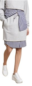 T by Alexander Wang Skirt Heathered Grey Stripe Combo