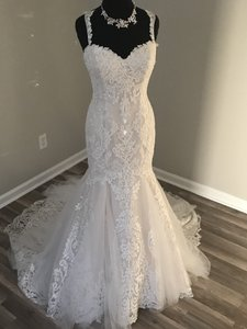 Casablanca Champagne Ivory Silver Tulle and Lace Traditional Wedding Dress Size 10 (M)