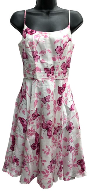 Item - White/Pink New York Floral Print Pink/White Short Casual Dress Size 4 (S)