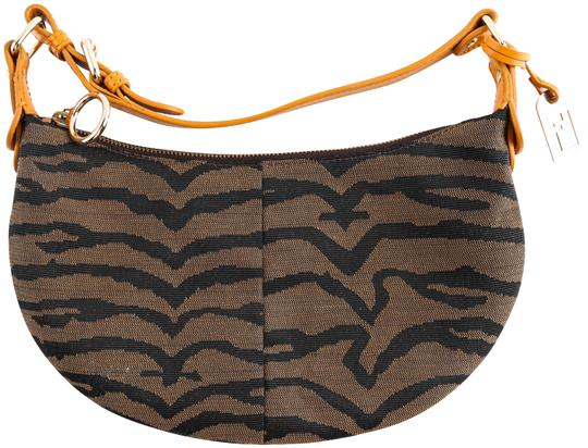 Piccola Stoned Tiger Print Brown Canvas Shoulder Bag by Fendi