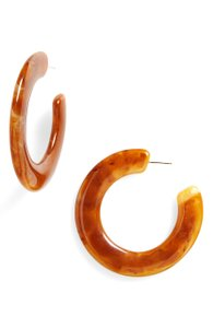 Cult Gaia Cult Gaia Kennedy Brick Brown Red Large Marbled Acrylic Hoop Earrings