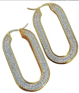 Céline E932 - Celine Edwige Gold Hoop Crystals Earrings