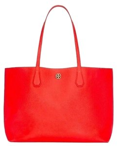 Tory Burch Large Pebbled Leather Perry Samba Tote in Poppy Red/Pale Apricot