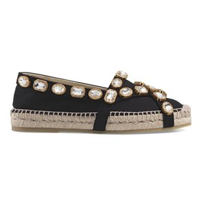 Gucci Gg Espadrille Double G Black Flats