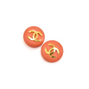 Chanel Vintage Chanel Orange and Gold Large Round CC Logo Earrings-1980s