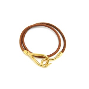 Hermès Hermes Brown Leather x Gold Tone Hook Double Wrap Jumbo Bracelet