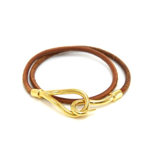 Hermès Hermes Brown Leather x Gold Tone Hook Double Wrap Jumbo Bracelet Image 1