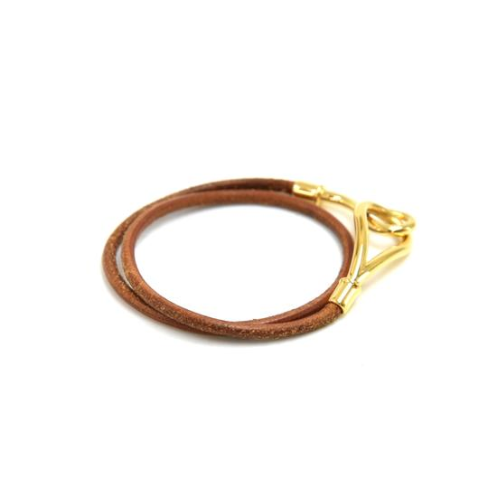 Hermès Hermes Brown Leather x Gold Tone Hook Double Wrap Jumbo Bracelet Image 2