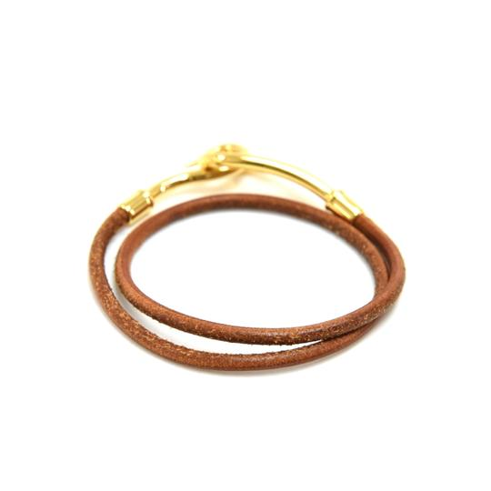 Hermès Hermes Brown Leather x Gold Tone Hook Double Wrap Jumbo Bracelet Image 3