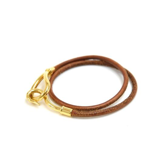 Hermès Hermes Brown Leather x Gold Tone Hook Double Wrap Jumbo Bracelet Image 4