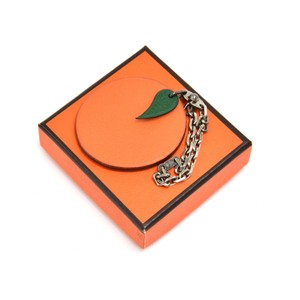 Hermès Vintage Hermes Orange Leather Bag Charm