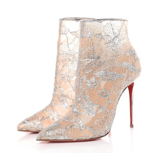 Christian Louboutin Stiletto Bianca Platform Ankle silver Boots