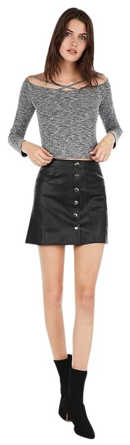 Express Black High Waisted (Minus The) Leather Snap Front Skirt Size 0 (XS, 25) Express Black High Waisted (Minus The) Leather Snap Front Skirt Size 0 (XS, 25) Image 1