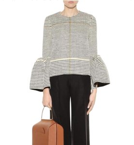 Roksanda Puff Sleeve Bell Sleeve Checkered Top Black, White, Yellow