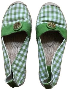 Tory Burch Green White Flats