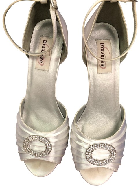 Dyeables White Satin Shoes Etta Wedges Size US 9 Regular (M, B) Dyeables White Satin Shoes Etta Wedges Size US 9 Regular (M, B) Image 1