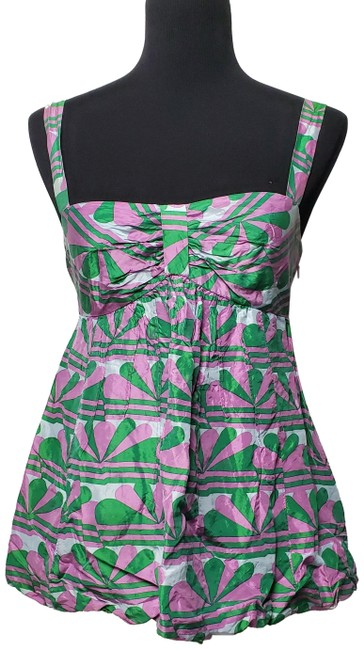 Item - Green and Pink Shoulder Strap Fans Theme Short Casual Dress Size 2 (XS)