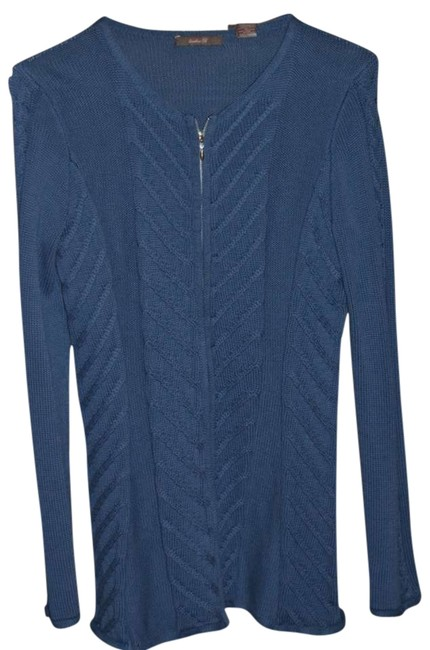 Item - Deep Blue Zippered Design Color with Pattern In Front Cardigan Size 10 (M)
